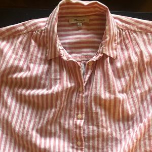 Madewell tie back pink stripe button down shirt